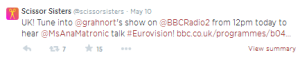 Ana Mantronic on Eurovision. Photo : Twitter