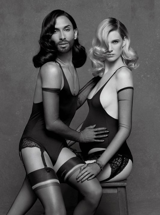 Conchita Wurst with top model Ashleigh Good in the new issue of CR Fashion Book