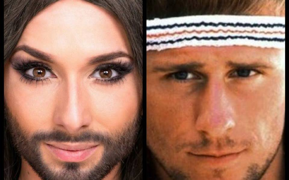 Conchita Wurst and Bjorn Borg. Photo : Wikipedia