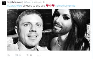 Conchita Wurst and Jake Shears. Photo : Twitter