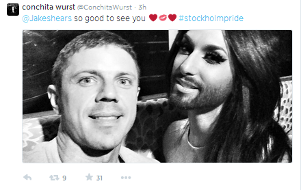 Conchita Wurst and Jake Shears. Photo : Twitter