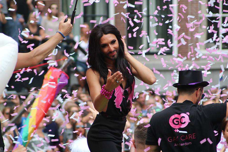 Conchita Wurst at Amsterdam Pride 2014. Photo : Jan van der Zanden Facebook
