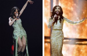 Dana International and Conchita. Photo : eurosong.be