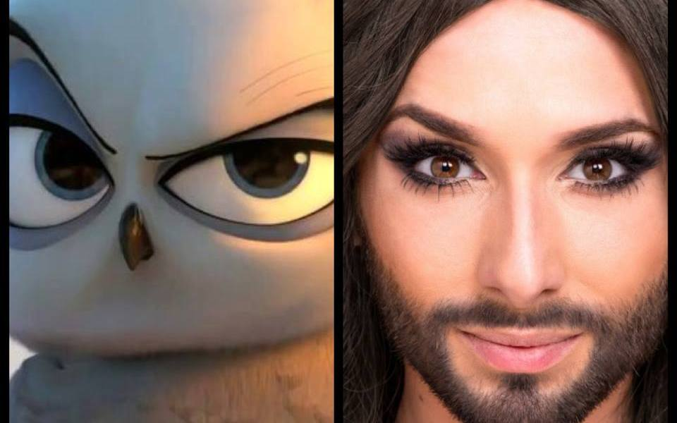Conchita Wurst as Eva the Snow Owl in 'The Penguins of Madagascar'. Photo : Wikipedia