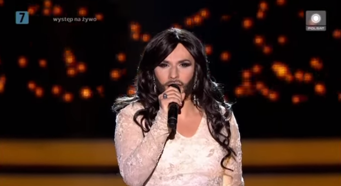 Kuba Molęda as Conchita Wurst. Photo : YouTube