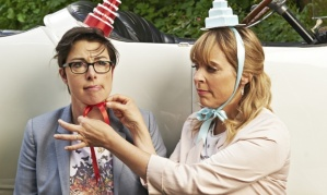 Sue Perkins and Mel Giedroyc. Photograph: Phil Fisk for Observer Food Monthly