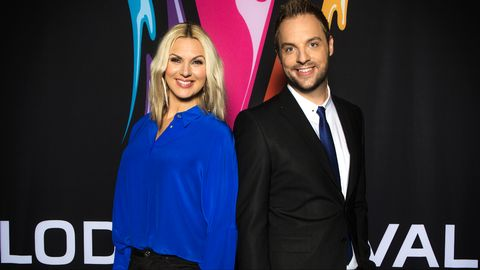 Sanna Nielsen and Robin Paulson at Melodifestivalen 2015. Photo : SVT