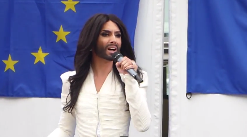 Conchita at European Parliament October 8th. Photo : YouTube