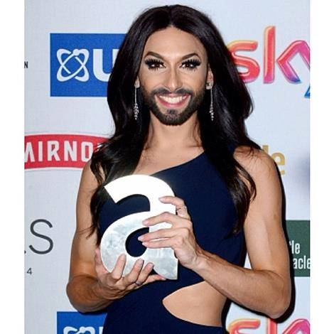 Conchita Wurst wins 'Moment of the year' at the Attitude Awards. Photo Conchita's Wurstgemeinde