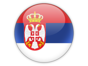 glossy round flag of Serbia