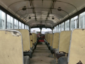 The old shuttle bus revealed