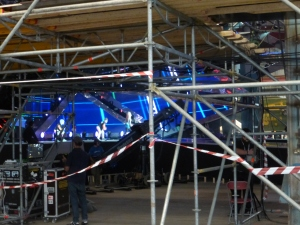 View of stage through scaffold
