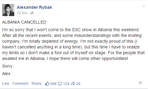 Alexander Rybak Cancels Albania Performance. Photo : Alexander Rybak Facebook
