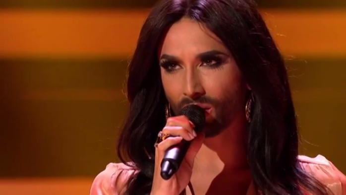 Conchita Wurst and the DR Big Bandet. Photo : Melodi Grand Prix YouTube