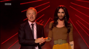 Conchita Wurst  and Graham Norton on New Year's Eve. Photo : BBC