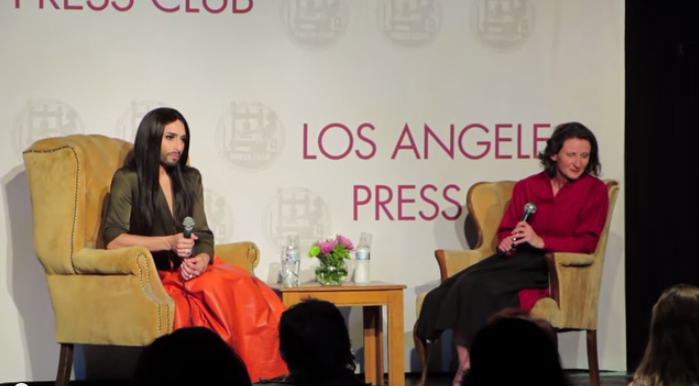 Conchita Wurst - LA Press Conference. Photo : YouTube