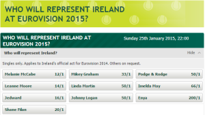 Betting Odds for Who Will Represent Ireland at Eurovision 2015. Photo : PaddyPower.ie