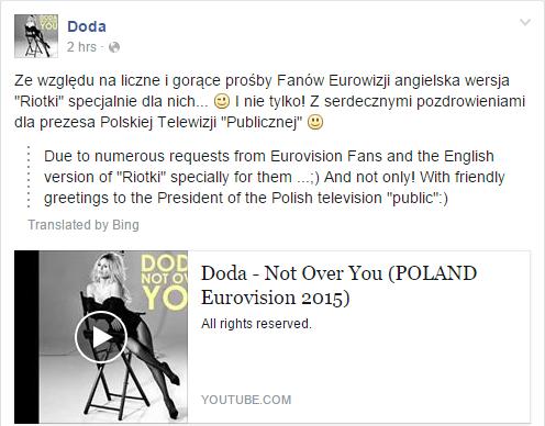 Doda Post on Facebook
