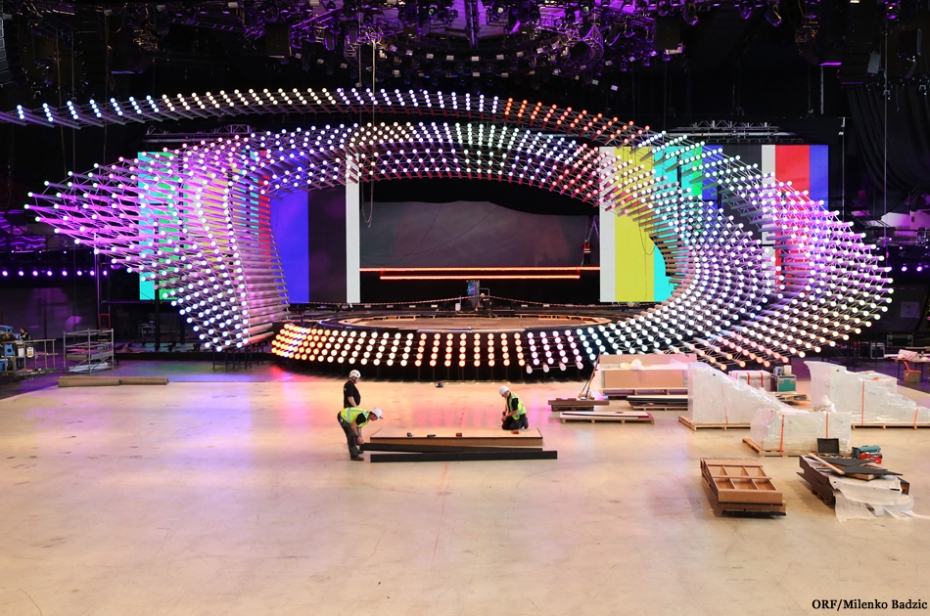 Eurovision Stage Completed. Photo : ORF / Milenko Badzic
