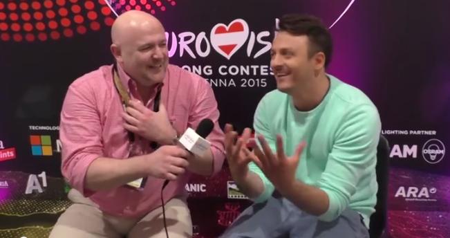 Daniel Kajmakoski in Interview at Eurovision 2015. Photo : Eurovision Ireland