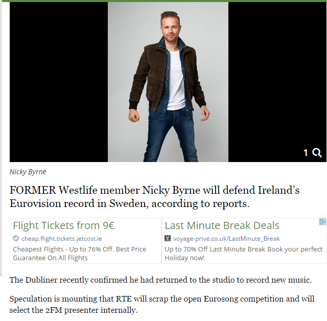 IRELAND : Nicky Byrne Reported To Be Representing Ireland At