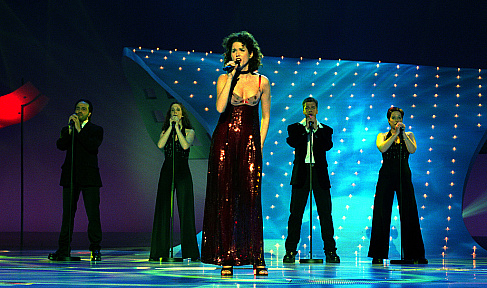 Switzerland's Eurovision Song Contest entry, Gunvor, during a competition dress-rehersal at the National Indoor Arena in Birmingham late Friday May 8, 1998. The final, on Saturday May 9, will be watched by an estimated 100 million people worldwide, but the eventual winner is not expected to be known until late in the night, when all the votes are cast. (AP Photo/BBC) ** UNITED KINGDOM OUT ** === EDS: Photo made during DRESS-REHERSAL late Friday May 8. ** UNITED KINGDOM OUT ** ===