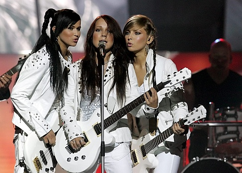 The Vanilla Ninja band from Switzerland performs the song 'Cool Vibes' during dress rehearsals for the Eurovision Song Contest in Kiev on Saturday, 21 May 2005. EPA/ANATOLIY MALTSEV