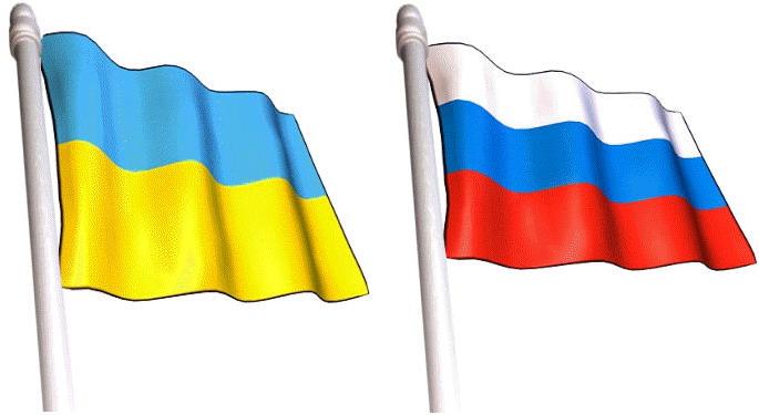 russia ukraine flags