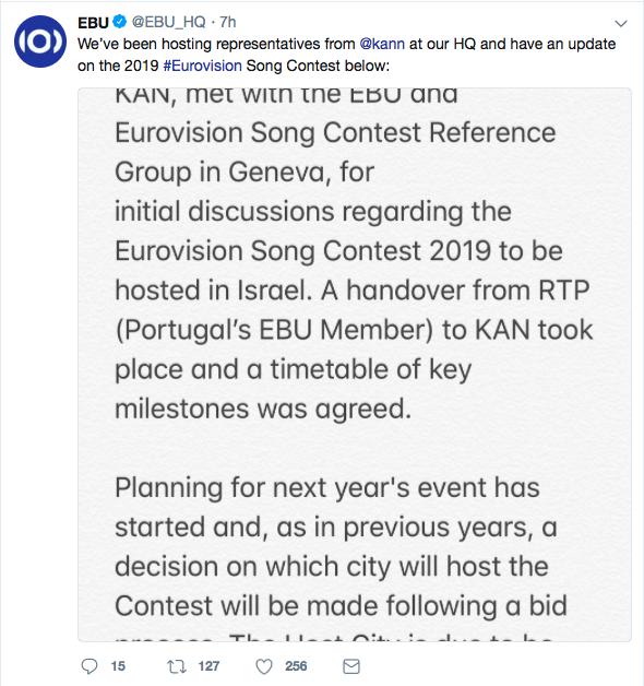 EBU Israel Tweet